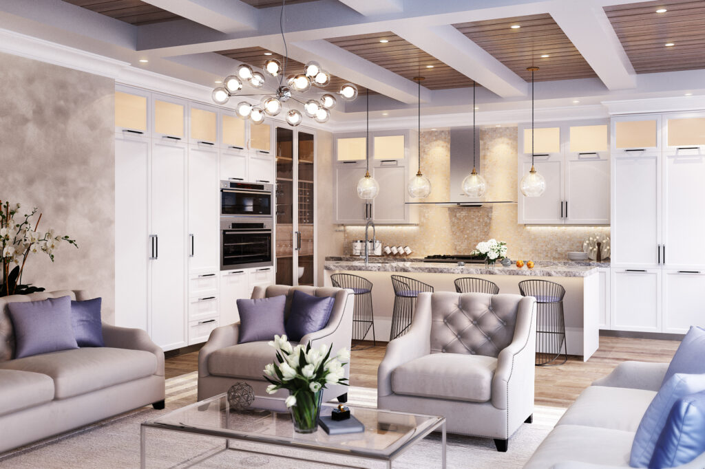 A living room next to an open kitchen