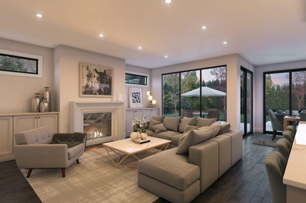 A large living area with gray themes